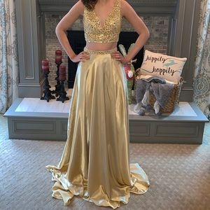Gold two piece Sheri Hill prom dress